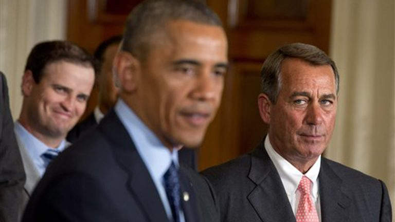 House Speaker John Boehner, R-Ohio, (right), watches President Barack Obama speak during a ceremony in the East Room of the White House, Tuesday, June 24, 2014 in Washington (Jacquelyn Martin/AP Photo, file)