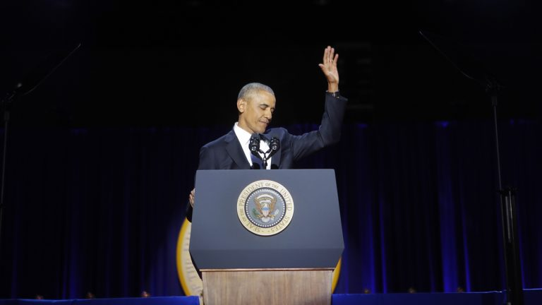 President Barack Obama waves after the conclusion of his farewell address at McCormick Place in Chicago