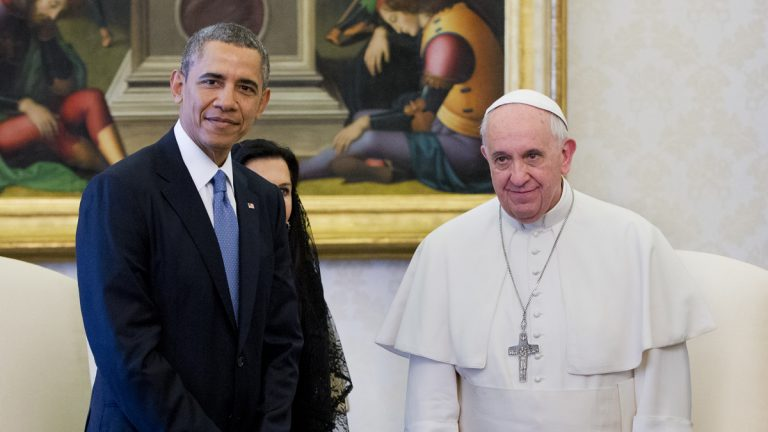 President Barack Obama meets with Pope Francis in 2014 at the Vatican. (Pablo Martinez Monsivais/AP Photo)