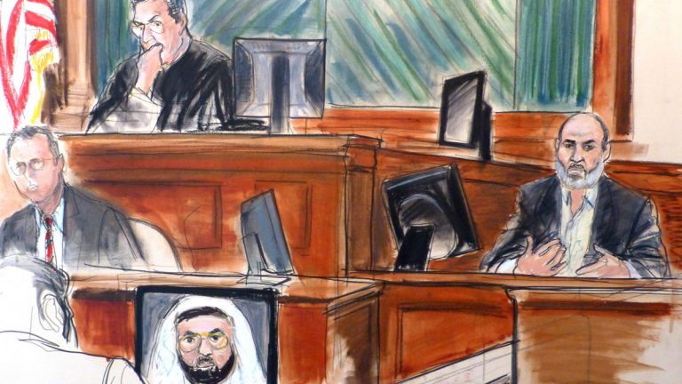 In this courtroom sketch Osama bin Laden's son-in-law, Sulaiman Abu Ghaith, right, testifies at his trial Wednesday, March 19, 2014, in New York, on charges he conspired to kill Americans and aid al-Qaida as a spokesman for the terrorist group. In his surprise testimony, Abu Ghaith recounted the night of the Sept. 11, 2001, attacks, when bin Laden sent a messenger to drive him into a mountainous area for a meeting inside a cave in Afghanistan. (Elizabeth Williams/AP Photo)