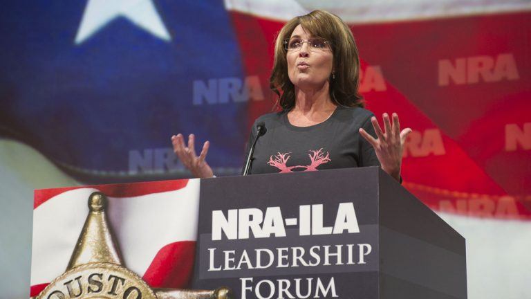 Former Alaska Gov. Sarah Palin speaks during the leadership forum at the National Rifle Association's annual meeting Friday, May 3, 2013 in Houston. (Steve Ueckert/AP Photo)