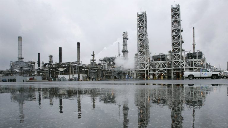 Some of the processing equipment is seen at the PBF Energy refinery in Paulsboro N.J.  (Mel Evans/AP Photo)
