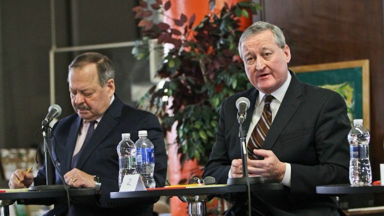 Jim Kenney fields a question at a recent mayoral forum in Parkside. (Kimberly Paynter/WHYY)