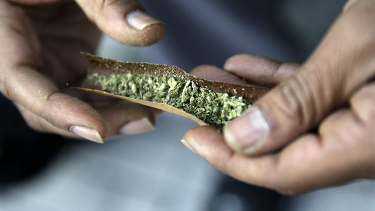 A man rolls marijuana as a large group gathered near the New Jersey Statehouse to show their support for legalization Saturday, March 21, 2015, in Trenton, N.J. (Mel Evans/AP Photo, File)