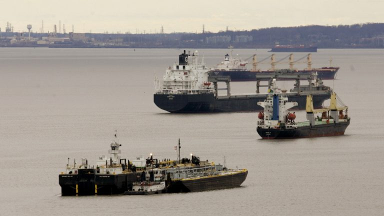Ships and barges are idle in the middle of the Delaware River between Chester, Pa., and Wilmington, Del. (Chris Gardner/ AP Photo, file)