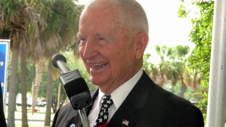 Billionaire businessman and former presidential candidate H. Ross Perot laughs during comments he made at the site of the future National Medal of Honor Museum at the Patriots Point Naval and Maritime Museum in Mount Pleasant, S.C. on Friday, Sept. 5, 2014. Perot visited to discuss plans for the $100 million museum. Organizers say he has donated millions to the effort but would not say specifically how much. Organizers hope to break ground next year. (Bruce Smith/AP Photo)