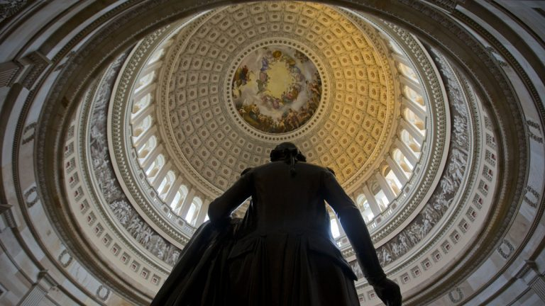 A statue of President George Washington in seen in the Capitol Rotunda on Capitol Hill in Washington, Tuesday, Jan. 28, 2014. President Barack Obama will give his State of the Union address tonight to a joint session of Congress. (Pablo Martinez Monsivais/AP Photo)