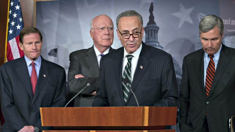 Sen. Chuck Schumer, D-N.Y., center, speaks to reporters after Senate Republicans derailed Obama's selection of Georgetown law professor Cornelia Pillard to fill one of three vacancies on the U.S. Court of Appeals for the District of Columbia Circuit, at the Capitol in Washington, Tuesday, Nov. 12, 2013. Sen. Richard Blumenthal, D-Conn., Senate Judiciary Committee Chairman Patrick Leahy, D-Vt., amd Sen. Sheldon Whitehouse, D-R.I., listen. (J. Scott Applewhite/AP Photo)