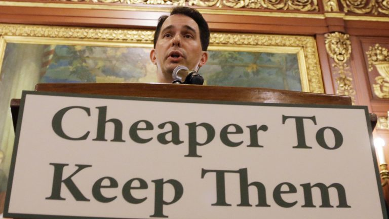 Wisconsin Gov. Scott Walker talks about a deal to pay for a new arena for the Milwaukee Bucks at a news conference Thursday, June 4, 2015, in Madison, Wis. Taxpayers would pick up half the cost of a new $500 million arena for the NBA basketball team under a financial deal that would rely on current and former team owners for the rest, Walker said Thursday. (Morry Gash/AP Photo)