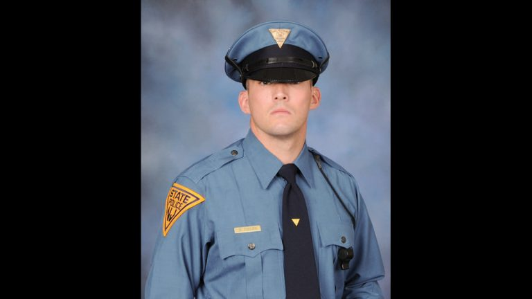 New Jersey State Police Trooper Sean Cullen is shown died early Tuesday after being struck by a passing car while responding to an automobile accident on a New Jersey highway.  (New Jersey State Police via AP)