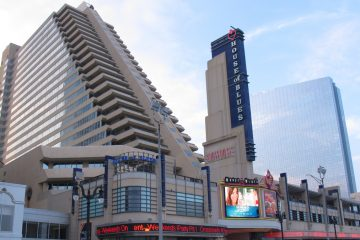 This July 20, 2013 photo shows a slanted hotel tower of the Showboat Casino Hotel in Atlantic City. (Wayne Parry/AP Photo, file)