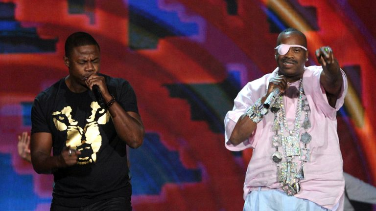 Doug E. Fresh, (left), and Slick Rick perform onstage at the 2013 Soul Train Awards at the Orleans Arena on Friday, Nov. 8, 2013 in Las Vegas. (Photo by Frank Micelotta/Invision/AP)