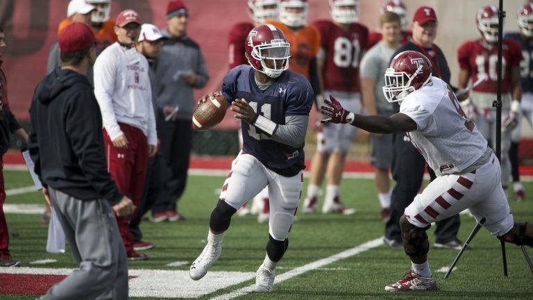 Temple quarterback P.J. Walker (11) at the NCAA college football team's practice facility Tuesday in Philadelphia. (Matt Rourke/AP Photo)