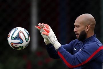 U.S. goalkeeper Tim Howard works out during a training session in Sao Paulo, Brazil, in June. (Julio Cortez/AP Photo)