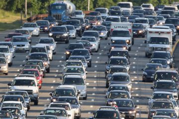 Drivers sit in stand-still traffic in New Jersey.