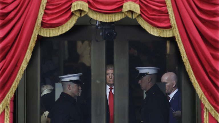 President-elect Donald Trump waits to step out onto the portico for his Presidential Inauguration at the U.S. Capitol in Washington