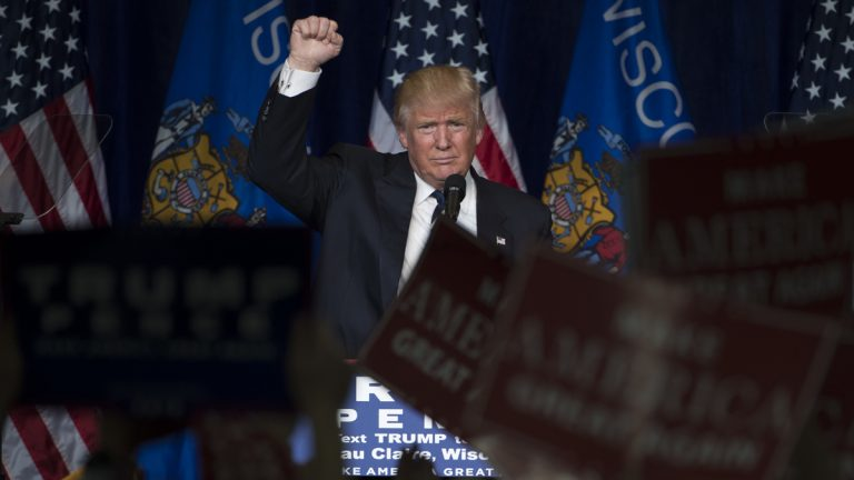 Republican presidential candidate Donald Trump campaign at the University of Wisconsin Eau Claire