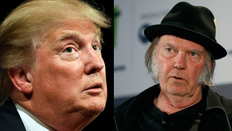 Republican presidential candidate Donald Trump (left), and Musician Neil Young (Charlie Neibergall and John Locher/AP Photos)