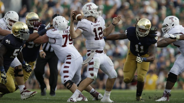 In this Aug. 31, 2013 photo, Temple quarterback Connor Reilly (12) throws against Notre Dame during the second half of an NCAA college football game in South Bend, Indiana. (Michael Conroy/AP Photo)