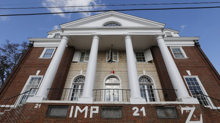 The Phi Kappa Psi fraternity house at the University of Virginia in Charlottesville, Va., Monday, Nov. 24, 2014. A Rolling Stone article last week alleged a gang rape at the house which has since suspended operations. (Steve Helber/AP Photo)