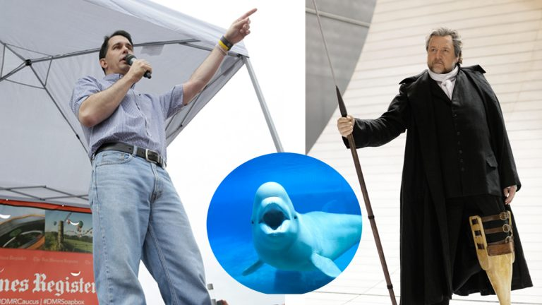 """Republican presidential candidate Wisconsin Gov. Scott Walker (left), and Tenor Ben Heppner dressed as Captain Ahab (Charlie Neibergall and LM Otero/AP Photo; (<a href=""""http://www.shutterstock.com/pic-132899105/stock-photo-white-beluga-whale-in-aquarium-with-wide-open-mouth.html?src=OuHee6GU-Ujef_BTdSHvOg-1-4"""">; Insert of white whale </a> via ShutterStock)"""