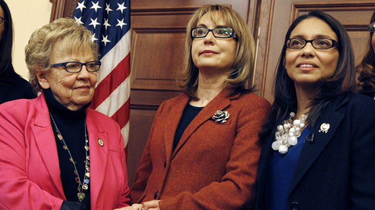 New Jersey state Sen. Loretta Weinberg, D-Bergen, (left) pictured here with former U.S. Rep. Gabrielle Giffords of Arizona, and New Jersey Assemblywoman Gabriela Mosquera, D-Gloucester, is enthusiastic about President Obama's move to encourage