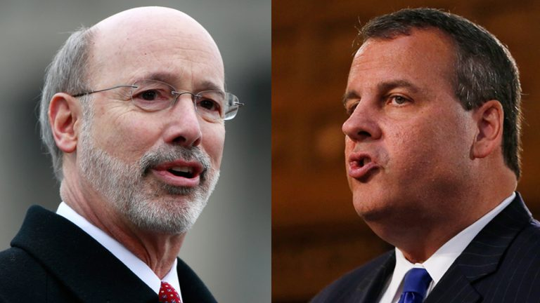 Pennsylvania Gov. Tom Wolf (left), and New Jersey Gov. Chris Christie. (AP Photos)