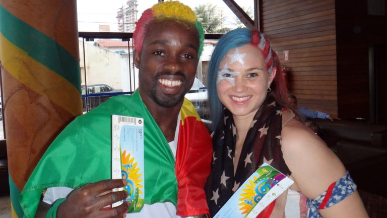 Friends of the author, Archibald and Nicole Ollennu, from Ghana and Michigan, respectively, are shown at the Natal Praia Hotel in Natal, Brazil, on June 16, on their way to the U.S.-Ghana game. (Image courtesy of Archibald and Nicole Ollennu)