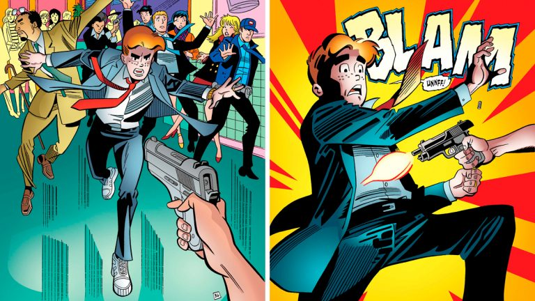 These images provided by Archie Comics show Archie in his final moments of life in a scene from the comic book,