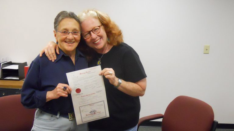 From left: Arleen Olshan and Linda Slodki took advantage of a brief time last summer when the Montgomery County register of wills was issuing marriage licenses to same-sex couples. (Image courtesy of Olshan and Slodki)