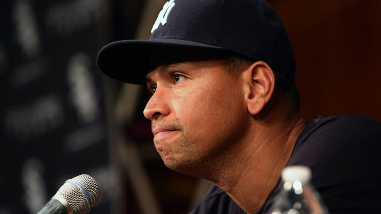 New York Yankees' Alex Rodriguez responds to accusations that he used performance enhancing drugs. (AP Photo/Charles Cherney)