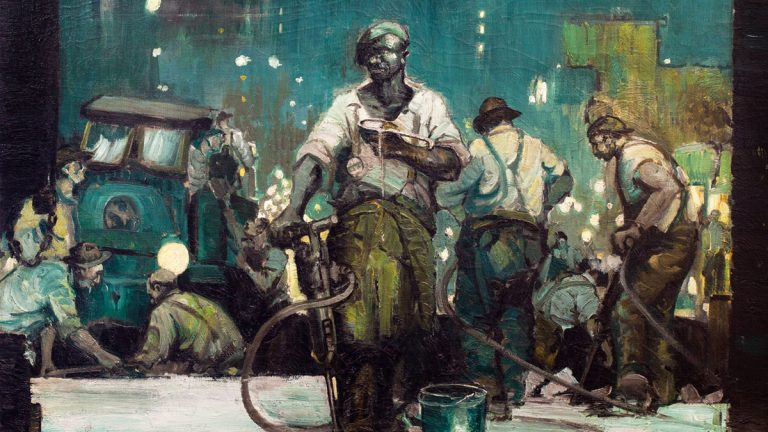 William D. White painting 'Night Shift on Broad Street, 1926' (courtesy/ Biggs Museum of American Art)