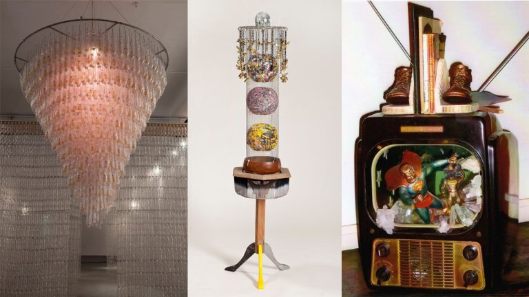 From left to right, Buddha Chandelier by Willie Cole, Dancing Shoes by Donna Payton, and Superman Leaving Home by Valerie Young. (Photos courtesy of Arts Council of Princeton)