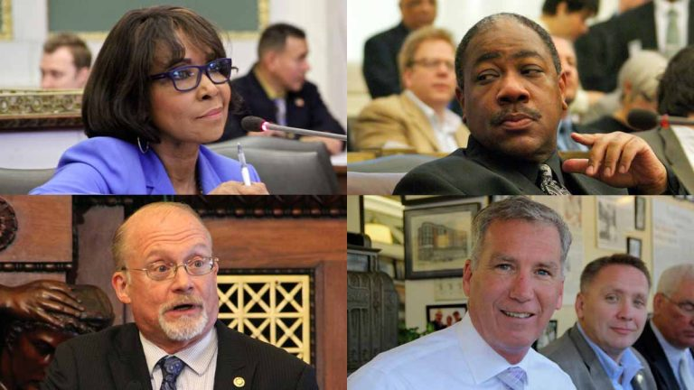 Four Democratic incumbent  at-large Council candidates face a lot of competition in the primary election. They are (clockwise from top left) Blondell Reynolds Brown, Wilson Goode Jr., Ed Neilson and Bill Greenlee. (NewsWorks file photos)