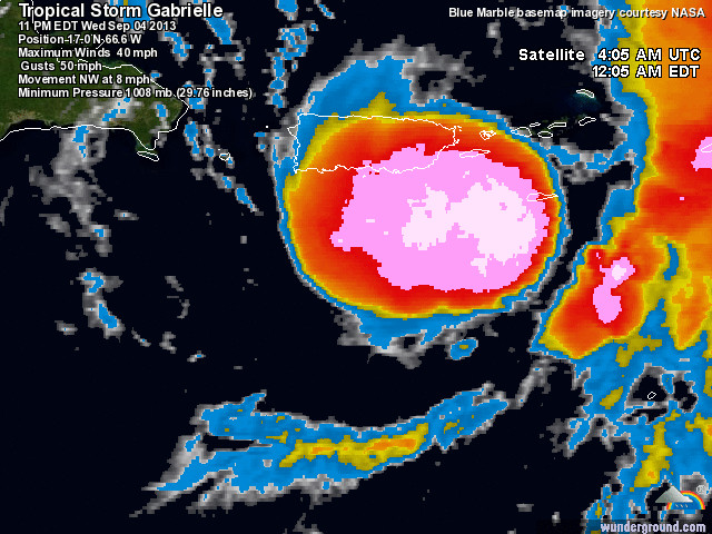 The 12:05 a.m. EDT infrared satellite image of Tropical Storm Gabrielle. (Image: Weather Underground)