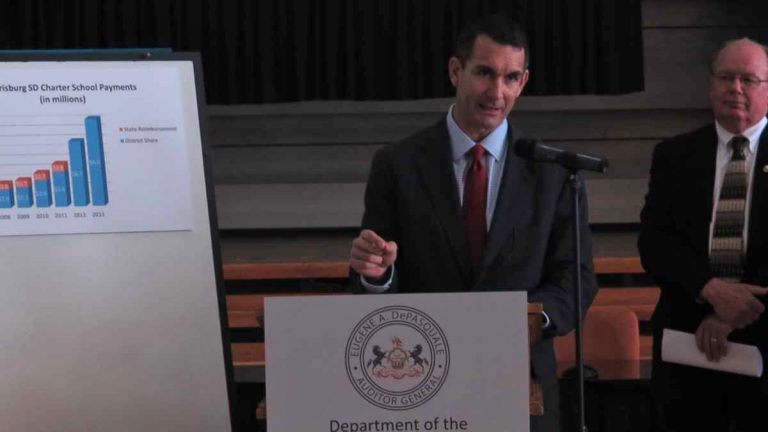 Pennsylvania Auditor General Eugene DePasquale reviews audit results at Harrisburg School District's Lincoln building. (Emily Previti/WITF)