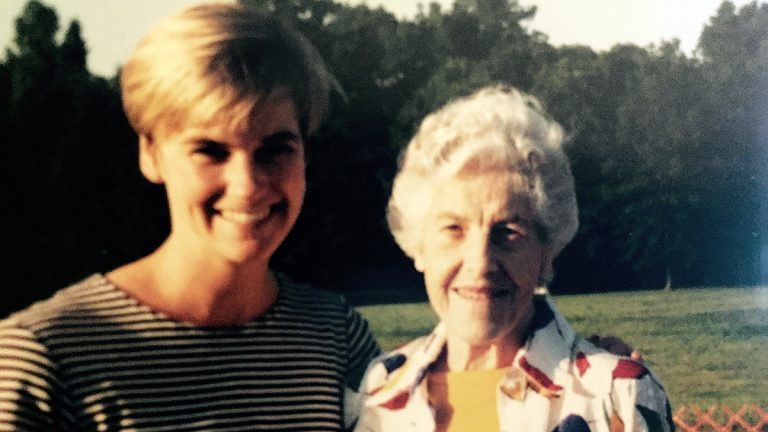 The author is shown with her aunt Lolly in the mid-'90s. (Courtesy of Courtenay Harris-Bond)