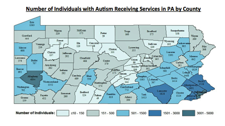 This map shows the number of individuals with autism receiving services by county. It highlights where most individuals with autism receiving services are living. High population areas coincide with high areas of individuals with autism receiving services. (Image via 2014 Pennsylvania Autism Census Update Overview)