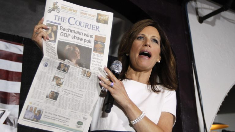 2012 Republican presidential candidate Rep. Michele Bachmann, R-Minn., celebrates a short-lived GOP Straw Poll victory in Iowa in 2011. Her campaign went nowhere fast immediately afterward. (AP Photo/Charles Dharapak)