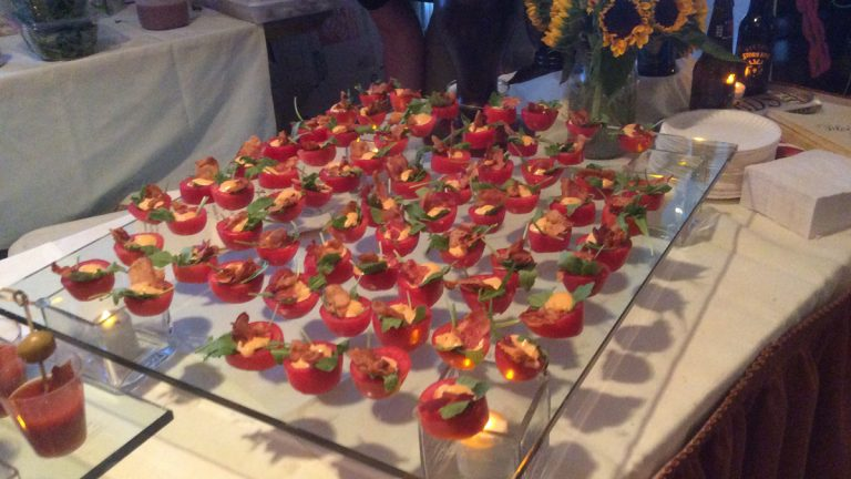 Bacon adorns Bloody Marys at last year's event. (Courtesy Crossroads Programs)