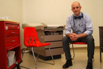 Dr. Travis Baggett in the new clinic space at the shelter. They've moved out of the women's bathroom