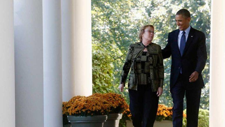 Janice Baker and President Barack Obama (AP Photo/Charles Dharapak)