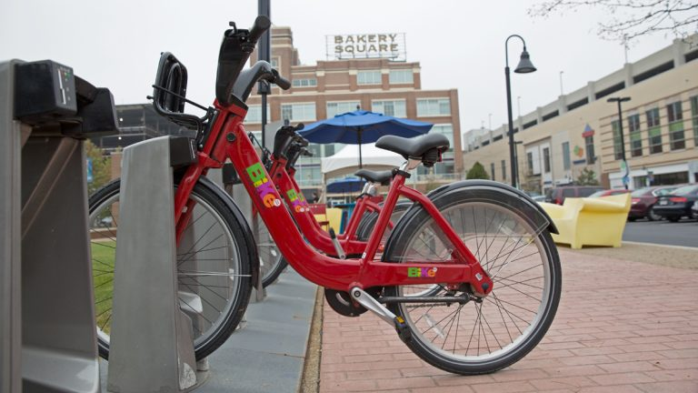 This bikeshare station in the Bakery Square section of Pittsburgh, Pennsylvania is limited to Google employees and Carnegie Mellon University students. Pittsburgh hopes to establish a citywide bikeshare program open to all in 2015.  (Lindsay Lazarski/WHYY)