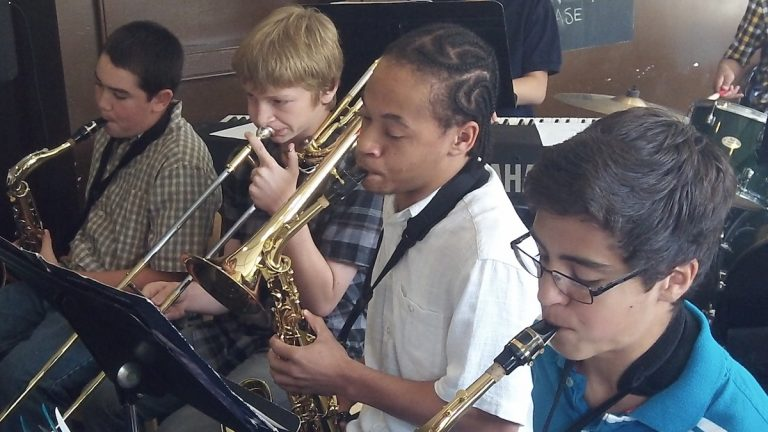 Band students jam at Settlement Music School's Germantown branch. (Photo courtesy of Settlement Music School)