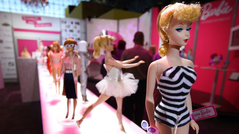 Toy company Mattel celebrated Barbie's 50th anniversary in 2009. This display of Barbie dolls from various years appeared at the Javits Center in New York City. (AP Photo/Craig Ruttle, file)