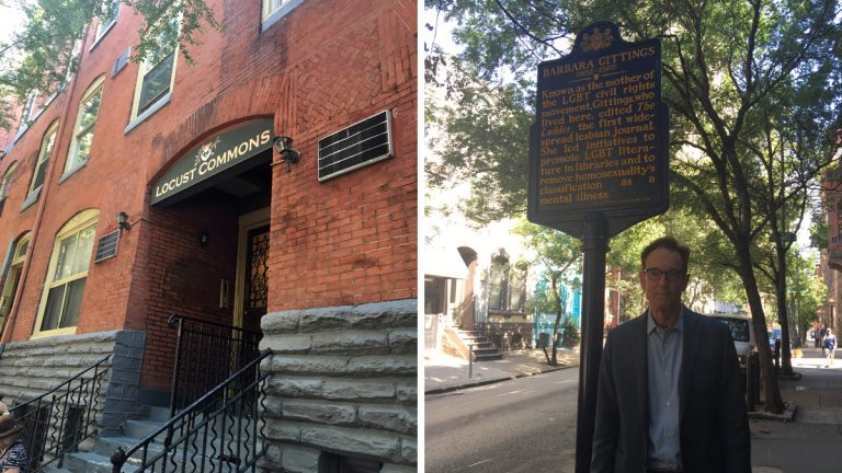 From left: The front entrance to the building where gay and lesbian rights activist Barbara Gittings lived; Equality Forum Executive Director Malcolm Lazin stands next to the marker commemorating Gittings. (Sara Jo Lee)