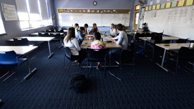 Cristo Rey faculty get one full day a week to collaborate and strategize about how to meet the specific needs of individual students. (Bas Slabbers/for WHYY)