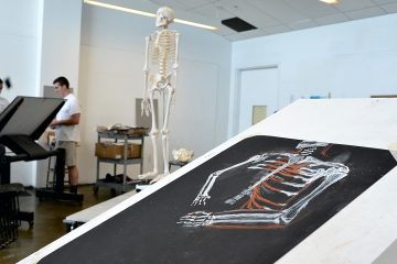 The assignment is to draw a composite of the skeleton anatomy based on the visual observation of the present (but not pictured) nude model. (Bastiaan Slabbers for NewsWorks)