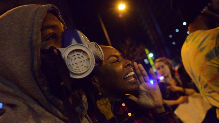 Protestors took to the streets of Philadelphia after the grand-jury decision was announced on Monday night. (Bas Slabbers/for NewsWorks)