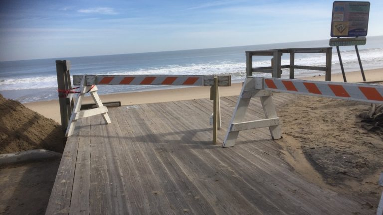 About a block of boardwalk was damaged after the weekend storm.(Zoe Read/WHYY)